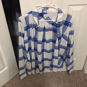 J. Crew blue and white flannel